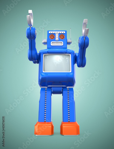Vintage  robot put up his hand on gradient background
