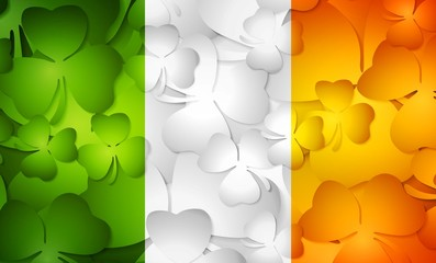 Irish flag made from shamrocks