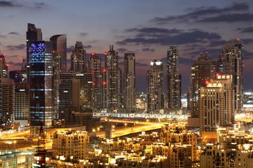 Dubai Downtown at night. United Arab Emirates
