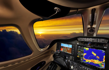 Cockpit at sunset