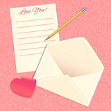 Love letter, envelope and heart sticker, eps10