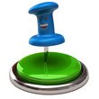 Fun blue thumbtack on green button