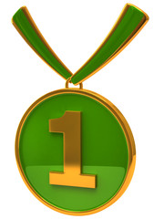 Illustration of green medal award