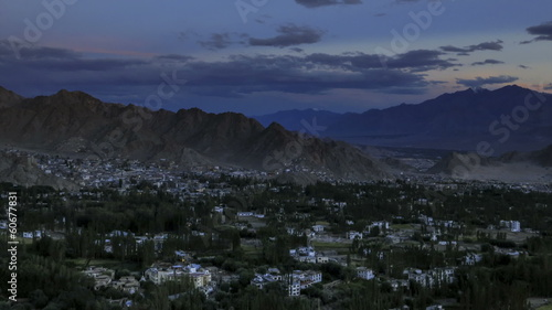 Leh city Ladakh sunset as seen from Shanti Stupa time lapse