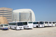 Buses for workers at a construction site in Doha, Qatar