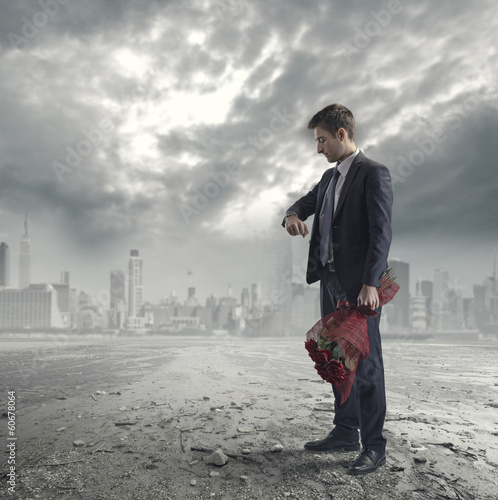 Man waiting with roses