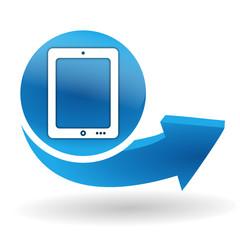 tablette sur bouton web bleu