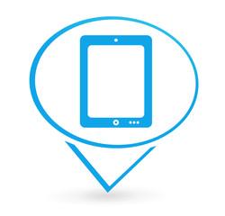 tablette numérique sur signet bleu