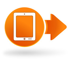 tablette sur symbole web orange