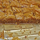 baklava, delicious oriental desert with nuts and honey syrup
