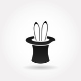 Illustration of rabbit in magician hat isolated on white