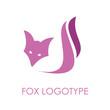 Vector violet Logo Fox. Concept of cunning