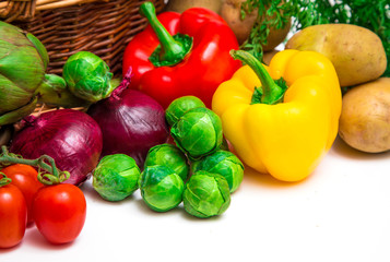 group of colored vegetables