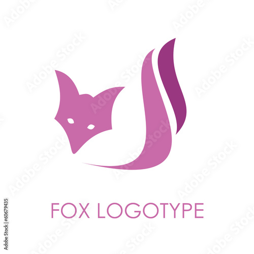 Vector violet Logo Fox. Concept of cunning