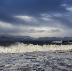 Atlantic waves during a stormy weather in County Kerry, Ireland