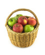 Ripe green and red apples in brown wicker basket isolated