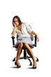 crestfallen woman sitting on the chair