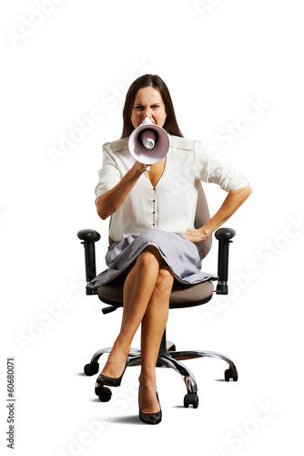 emotional woman sitting on the office chair