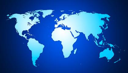 World Map - Weltkarte auf blauen Hintergrund - hand drawn - hig