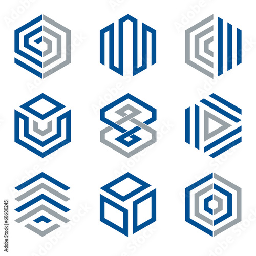 Hexagon shaped logo design elements collection 2