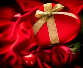 Valentine Red Hear Gift on Red Silk Background