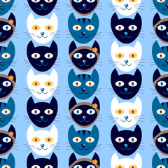Seamless pattern with cute kitty heads