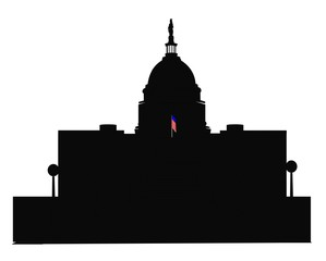 capitol building in silhouette with flag forefront