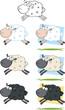 Sheep Cartoon Characters Jumping.Collection Set