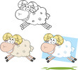 Ram Sheep Cartoon Characters Jumping.Collection Set