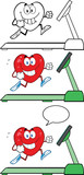 Heart Cartoon Mascot Characters On A Treadmill. Collection Set