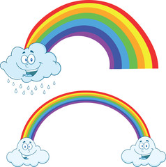 Clouds Raining With Rainbow Cartoon Characters. Collection Set