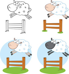 Sheep Cartoon Characters Jumping Over A Fence.Collection Set