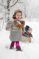 girl and sled