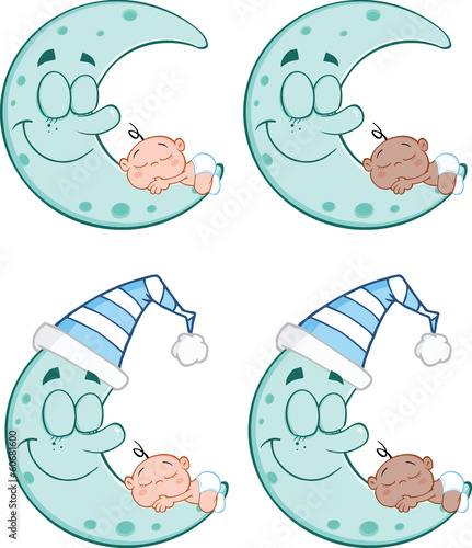 Baby Sleeping on A Blue Moon Cartoon Characters. Collection Set