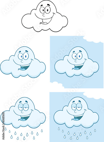 Happy Cloud Cartoon Mascot Characters. Collection Set