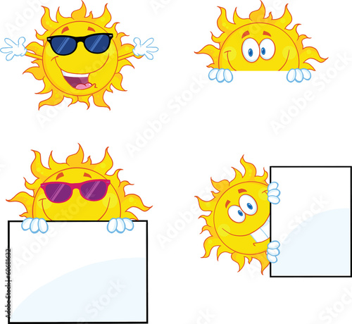 Sun Cartoon Mascot Characters 2. Collection Set