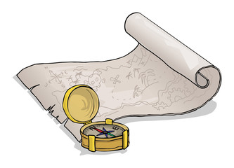 Treasure map and a compass