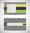 business card template with long shadow icons