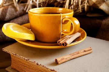 Tea with lemon and cinnamon