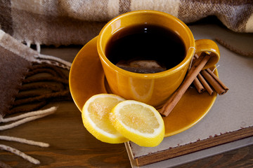 Tea with lemon and cinnamon