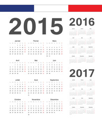 Set of French 2015, 2016, 2017 year vector calendars