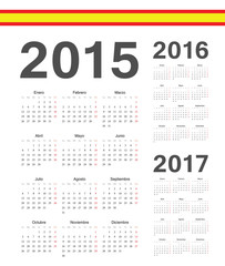 Set of Spanish 2015, 2016, 2017  year vector calendars