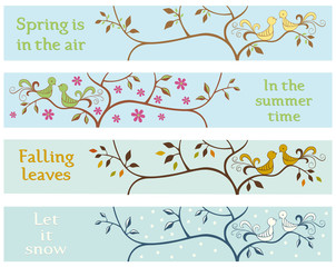 4 seasonal banners with love brids