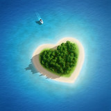 Wyspa w kształcie serca na oceanie - 60682880