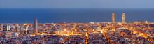 Barcelona skyline panorama niebieski godzinę