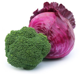 Closeup of broccoli with red cabbage