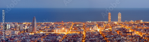Aluminium Barcelona Barcelona skyline panorama at the Blue Hour
