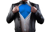 Businessman super hero isolated on white background