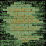 Grungy green abstract background with bricks wall inside.