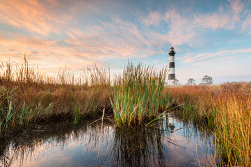 Bodie Island Lighthouse Coastal Marsh Landscape